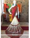 Customary Cream And Red Designer Half N Half Saree