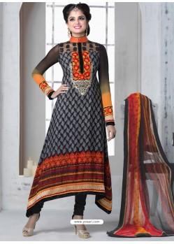 Orange And Black Crepe Anarkali Suit