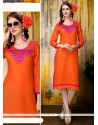 Especial Embroidered Work Orange Rayon Party Wear Kurti