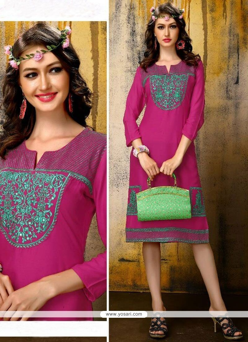 Cute Embroidered Work Party Wear Kurti