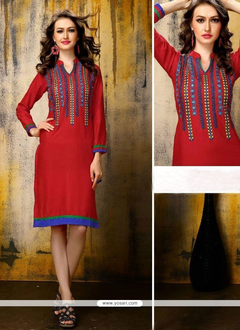 Tantalizing Embroidered Work Rayon Party Wear Kurti