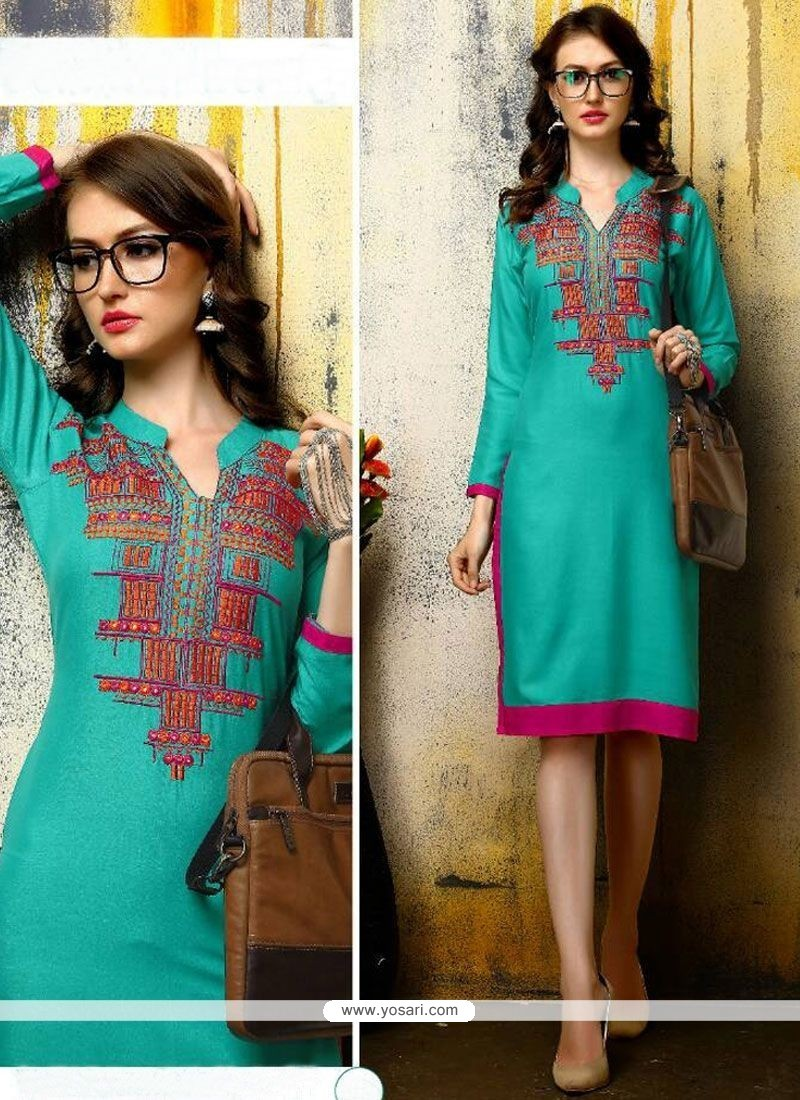 Surpassing Turquoise Rayon Party Wear Kurti