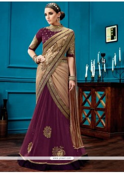 Gratifying Wine Embroidered Work Lehenga Saree