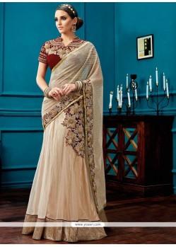 Splendid Embroidered Work Lehenga Saree