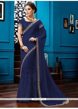 Fascinating Lace Work Navy Blue Saree