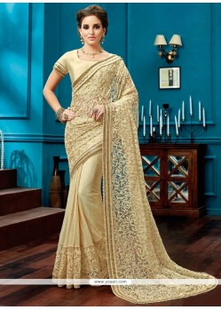 Imposing Lace Work Cream Net Designer Saree