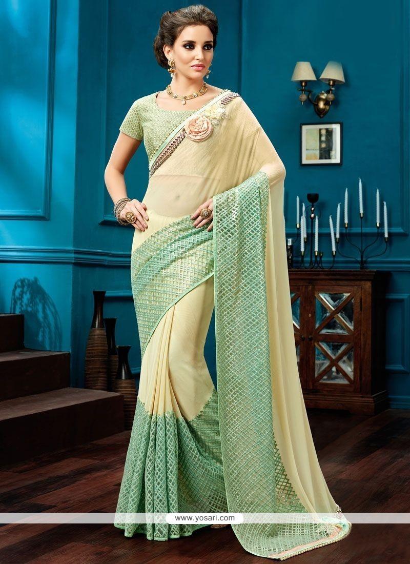 Radiant Fancy Fabric Cream And Sea Green Classic Designer Saree