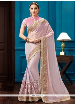 Pink Embroidered Work Faux Georgette Classic Designer Saree