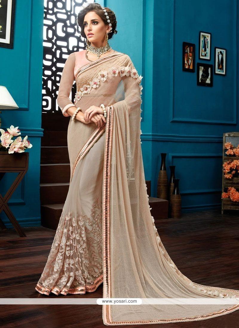 Delightsome Net Beige Resham Work Classic Saree