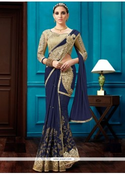 Impeccable Lace Work Navy Blue Net Lehenga Saree