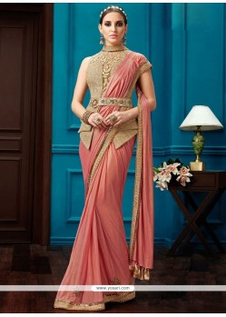 Royal Faux Georgette Peach Zari Work Lehenga Saree