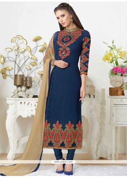 Best Stone Work Navy Blue Faux Georgette Churidar Designer Suit