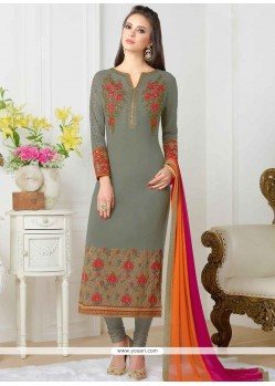 Voluptuous Faux Georgette Embroidered Work Churidar Designer Suit