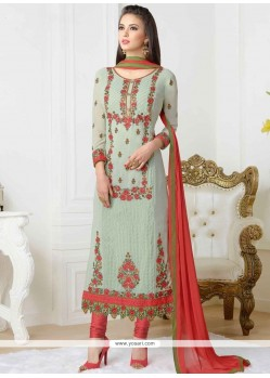 Magnetic Stone Work Faux Georgette Churidar Designer Suit