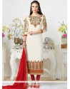 Enticing White Churidar Designer Suit