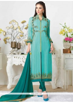 Alluring Embroidered Work Churidar Designer Suit