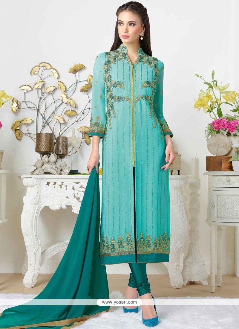 Alluring Embroidered Work Churidar Designer Suit