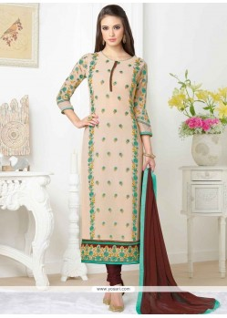 Embroidered Faux Georgette Churidar Designer Suit In Brown And Peach