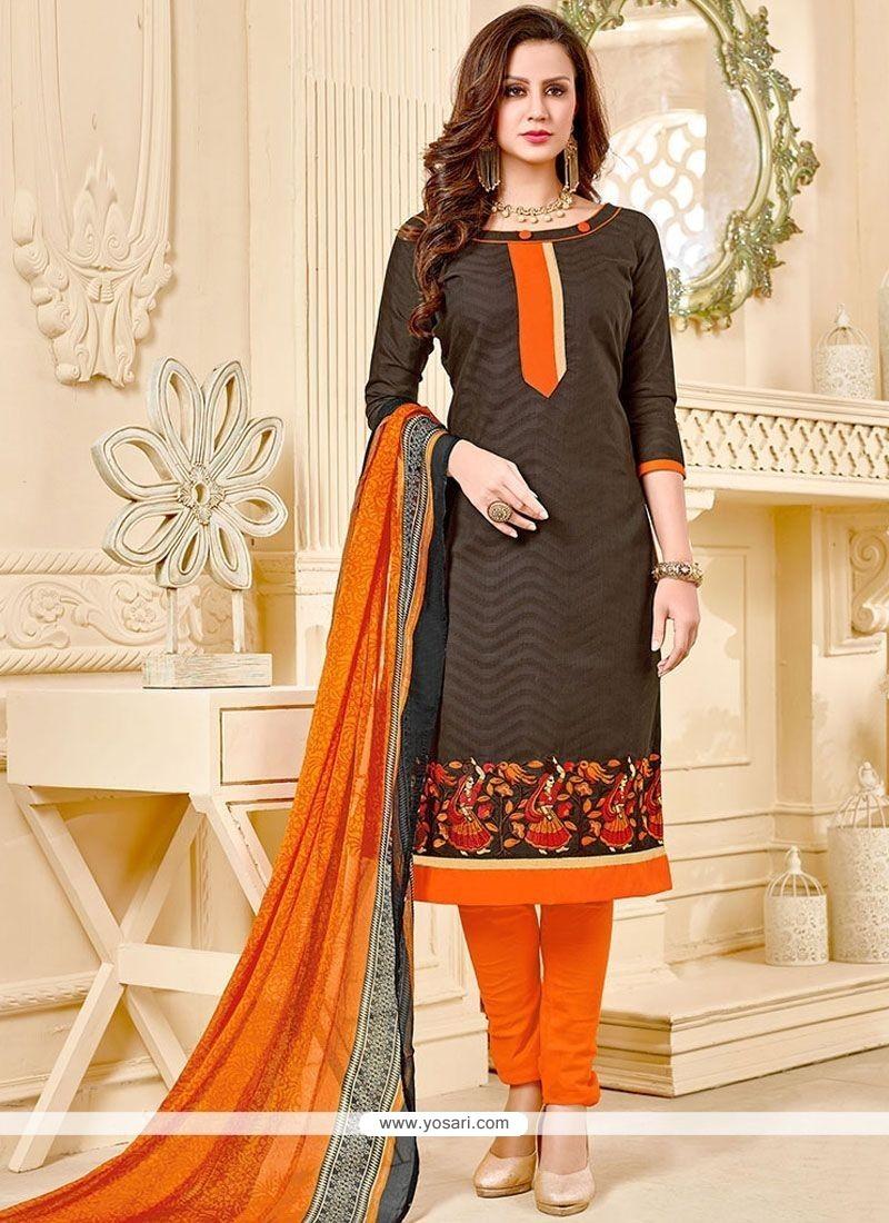 Divine Embroidered Work Cotton Churidar Suit