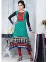 Sky Blue And Black Crepe Anarkali Suit