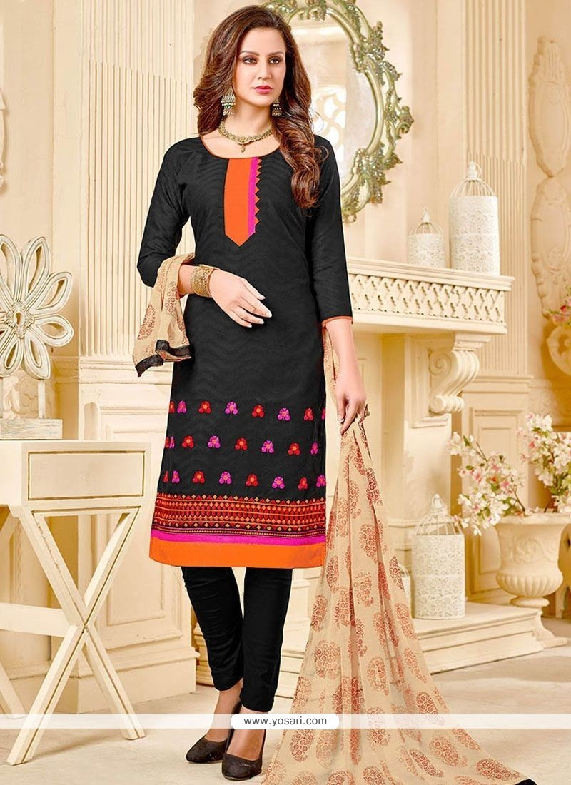 Paramount Black Embroidered Work Cotton Churidar Suit