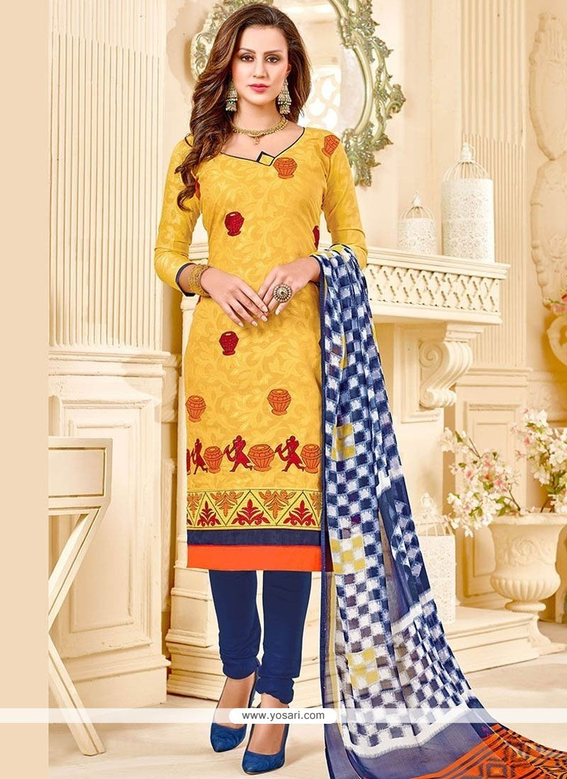 Renowned Yellow Embroidered Work Churidar Suit