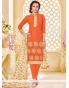 Whimsical Print Work Jacquard Orange Churidar Suit