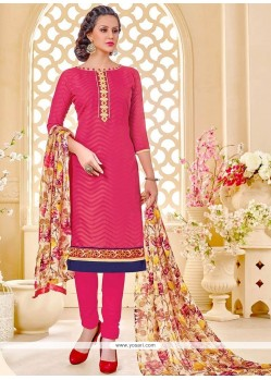 Distinctive Cotton Print Work Churidar Suit