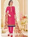 Distinctive Cotton Print Work Churidar Suit