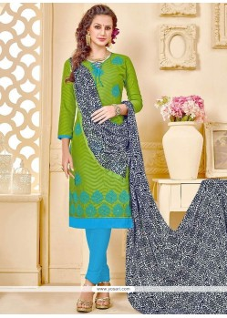 Beckoning Jacquard Embroidered Work Churidar Suit