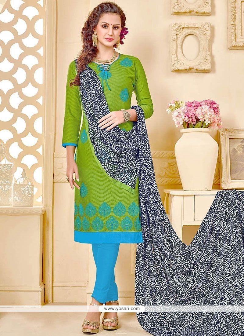 Beckoning Jacquard Embroidered Work Churidar Suit