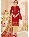 Beckoning Maroon Embroidered Work Churidar Suit