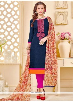 Whimsical Navy Blue Print Work Cotton Churidar Suit