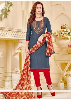 Pretty Grey Print Work Churidar Suit