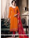 Conspicuous Embroidered Work Orange Cotton Churidar Designer Suit