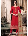Delectable Embroidered Work Jacquard Red Churidar Designer Suit