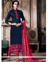 Classy Navy Blue And Rose Pink Embroidered Work Churidar Designer Suit