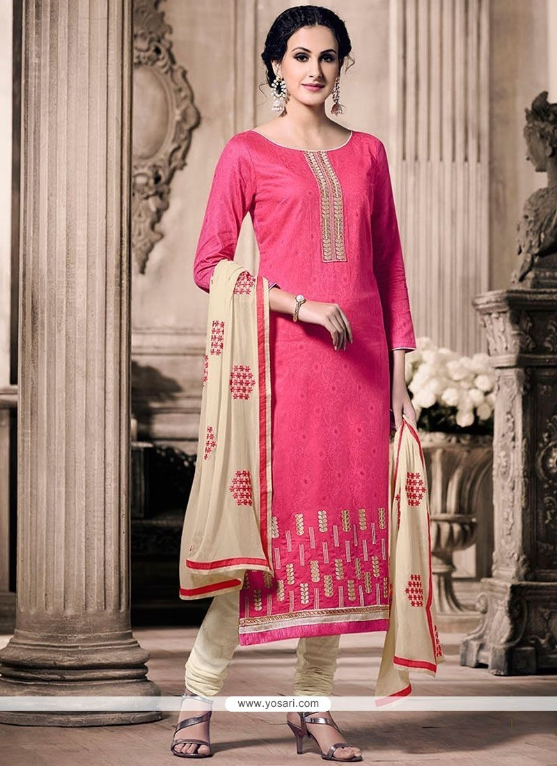 Beckoning Cream And Rose Pink Embroidered Work Churidar Designer Suit