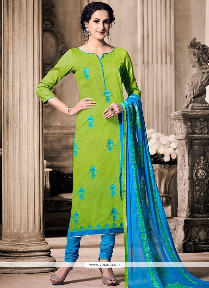 Intrinsic Resham Work Blue And Green Cotton Churidar Designer Suit