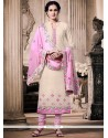 Perfervid Off White And Pink Churidar Designer Suit