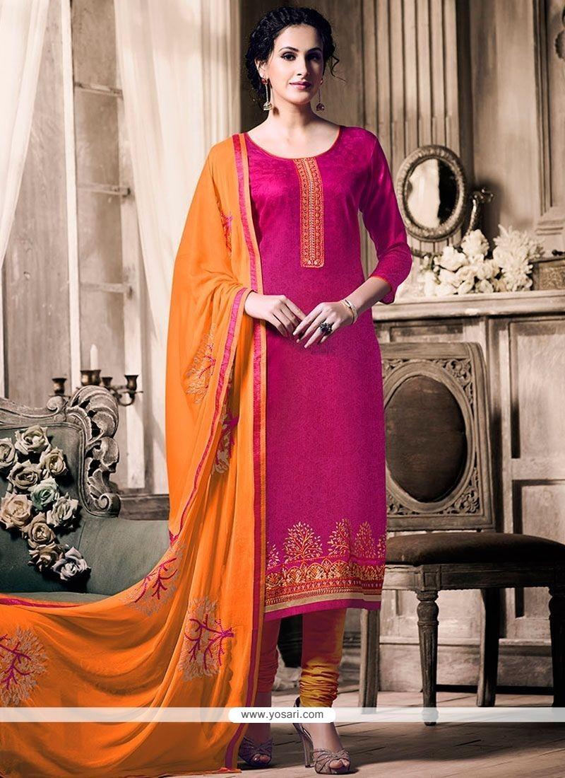 Latest Hot Pink And Orange Embroidered Work Jacquard Churidar Designer Suit