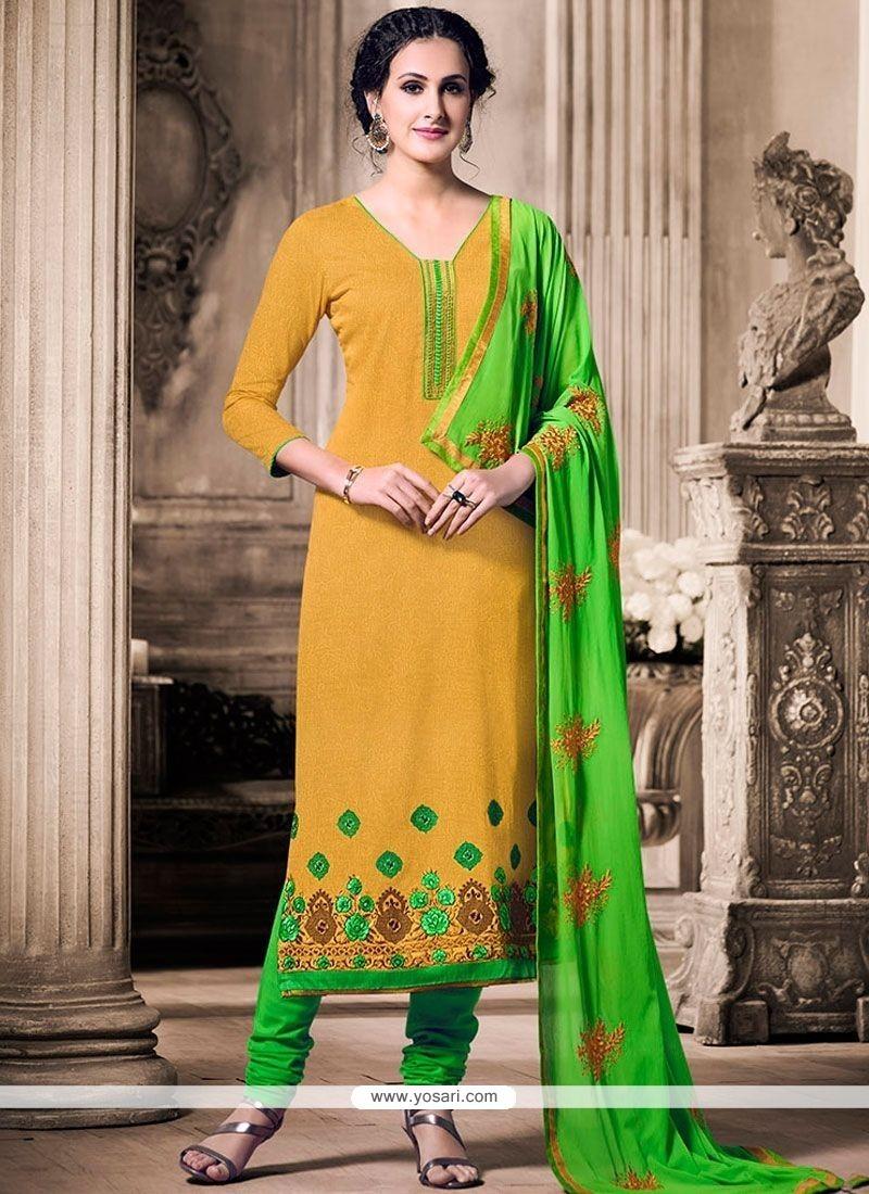 Graceful Jacquard Green And Mustard Resham Work Churidar Designer Suit