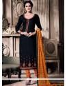 Gilded Embroidered Work Black Churidar Designer Suit