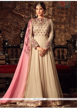 Lavish Embroidered Work Beige And Pink Faux Georgette Floor Length Anarkali Suit