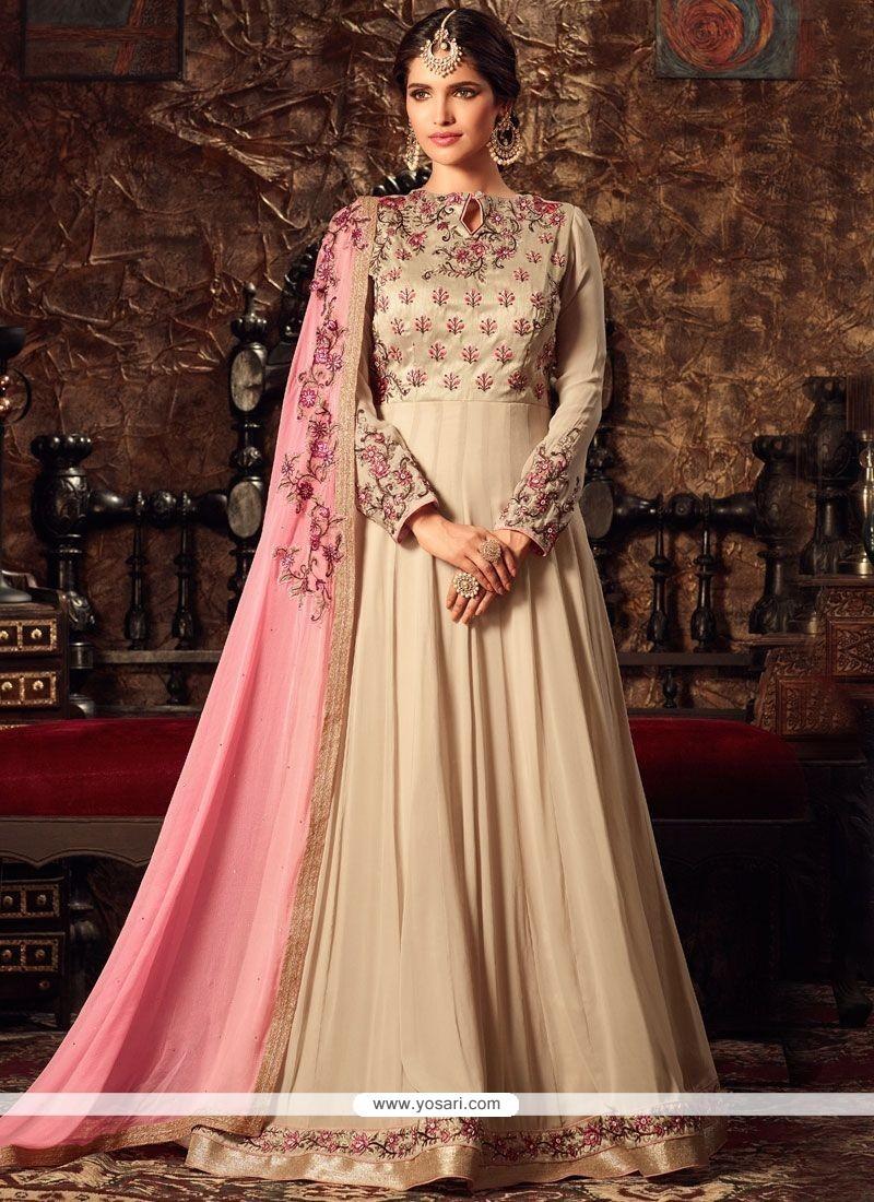 Lavish Embroidered Work Beige And Pink Faux Georgette Floor Length Anarkali Suit