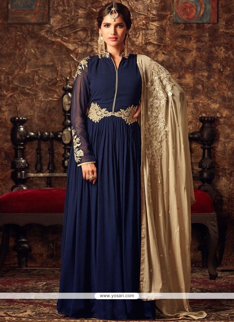 Glamorous Lace Work Floor Length Anarkali Suit