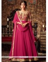 Stylish Embroidered Work Faux Georgette Hot Pink Floor Length Anarkali Suit
