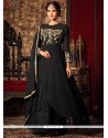 Flattering Faux Georgette Black Embroidered Work Floor Length Anarkali Suit