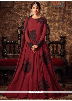 Charismatic Embroidered Work Maroon Faux Georgette Floor Length Anarkali Suit