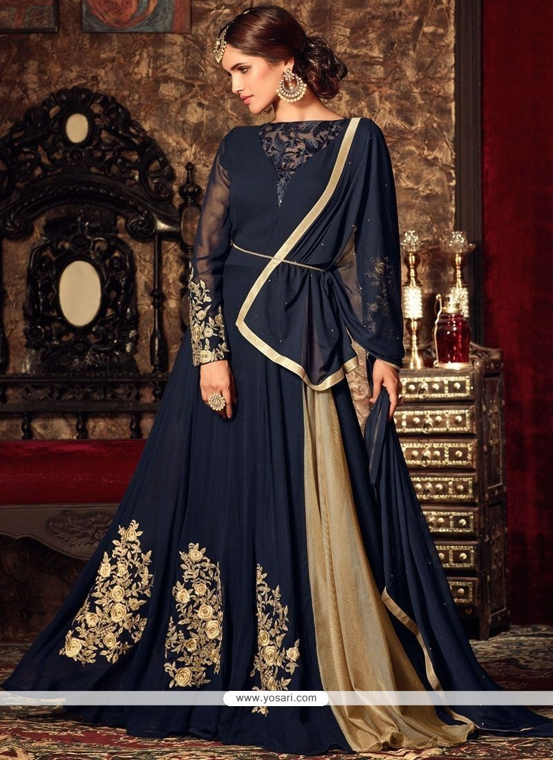 Appealing Navy Blue Floor Length Anarkali Suit